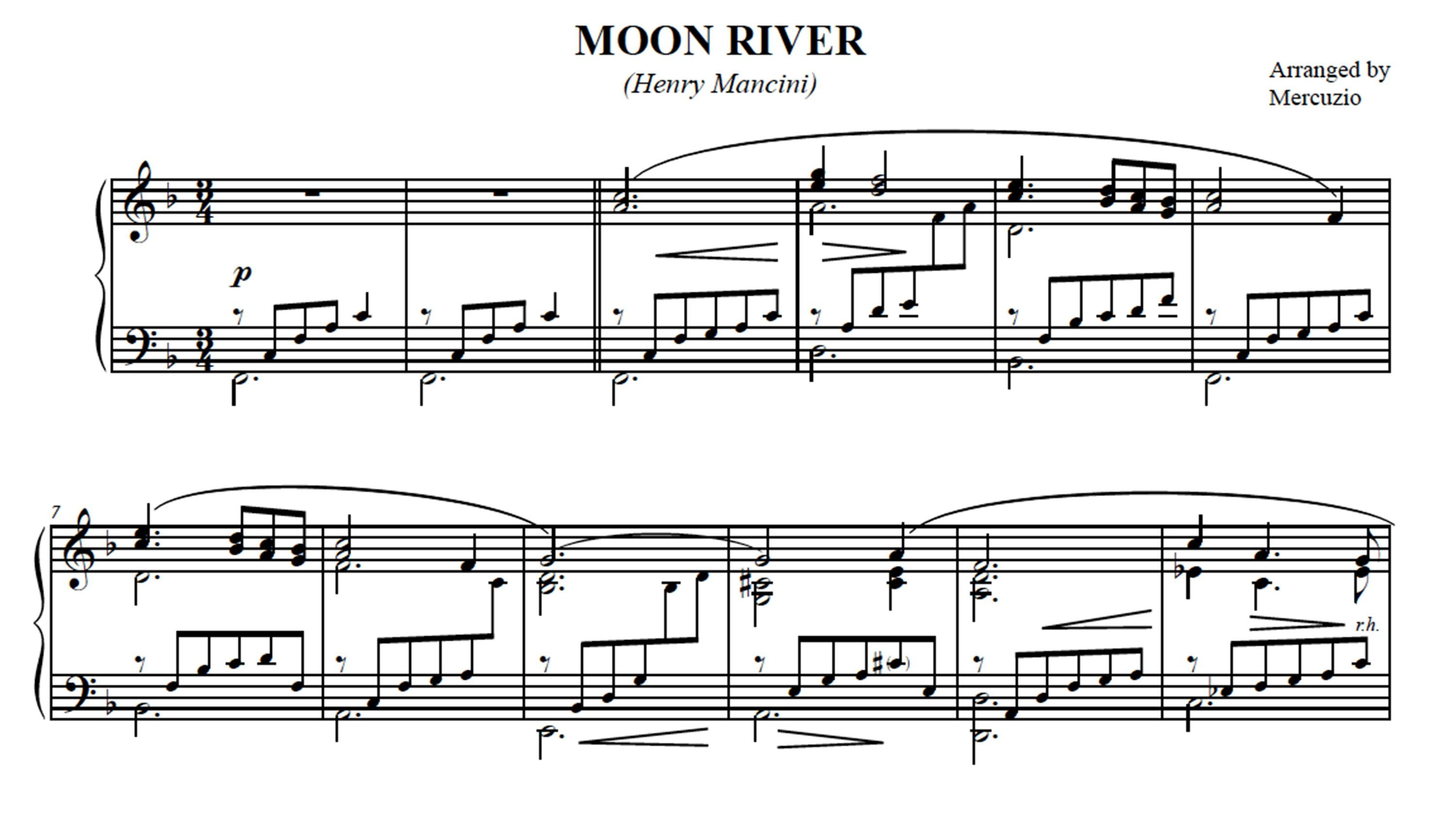 Moon River Henry Mancini Arranged For Piano By Mercuzio Played