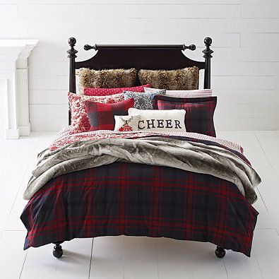 Bed Bath And Beyond Flannel Sheets Mesmerizing Cozy Happy Christmas Plaid Duvet Cover Set In Redblack  Bedding