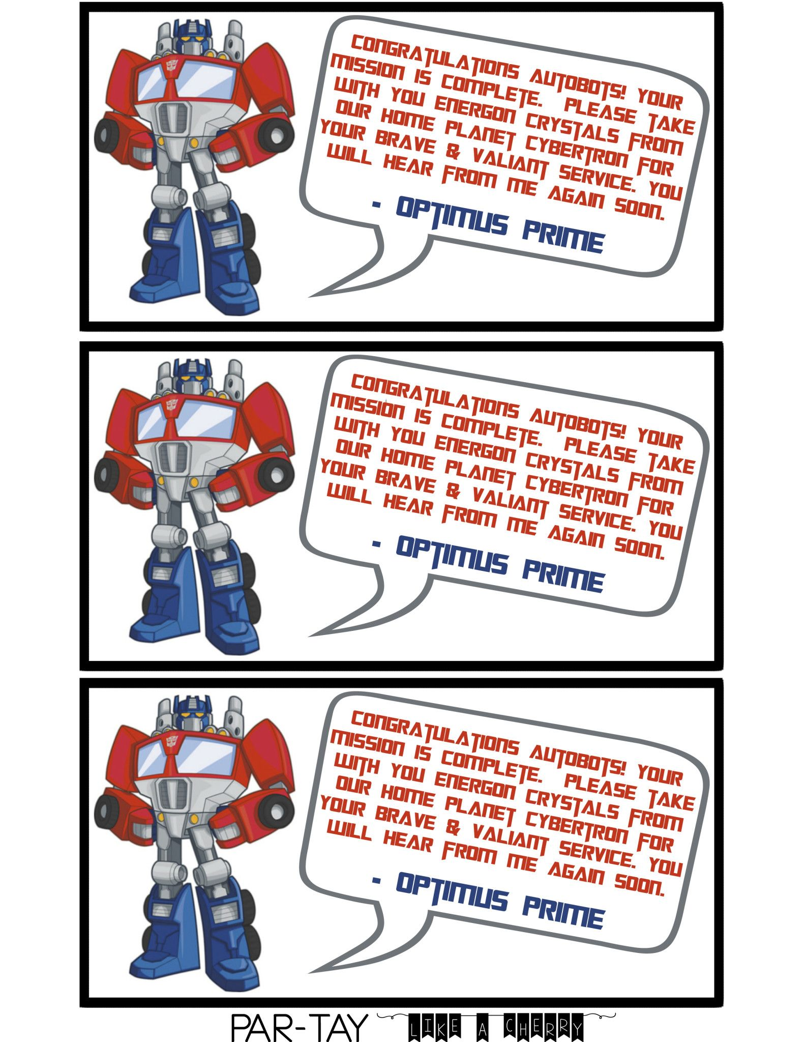 Transformer Party Favors – Free Printable Transformers Birthday Invitations