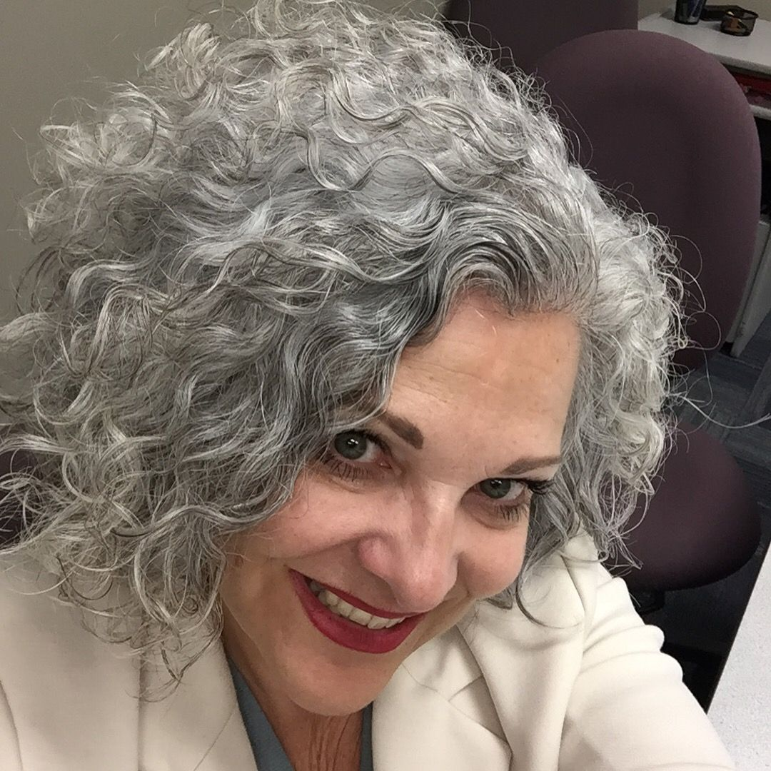 Silver And Curls 55 In 2019 Short Curly Hair Curly Hair