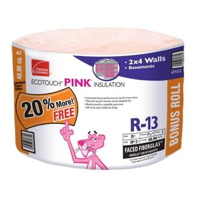 Owens Corning Ecotouch 3 1 2 In X 15 In X 39 Ft R 13 Kraft Continuous Roll Fiberglass Insulation Rf12 At The H Fiberglass Insulation Pink Insulation Corning