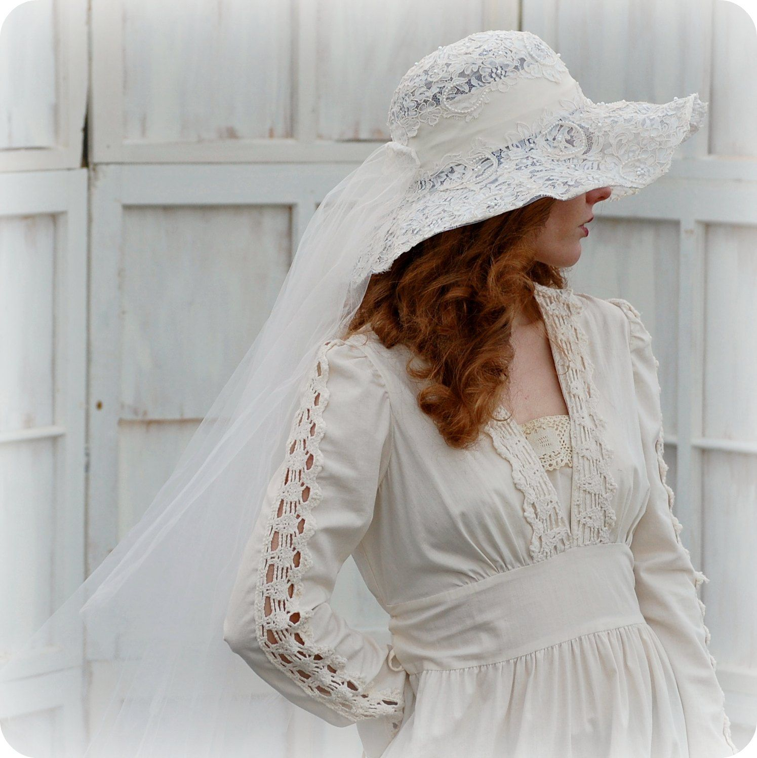 Vintage Wide Brim Lace Wedding Hat With Veil 1970s By