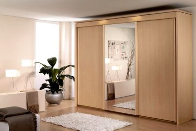 Rauch Imperial Sliding Wardrobe - Front with Wooden Decor and Mirror