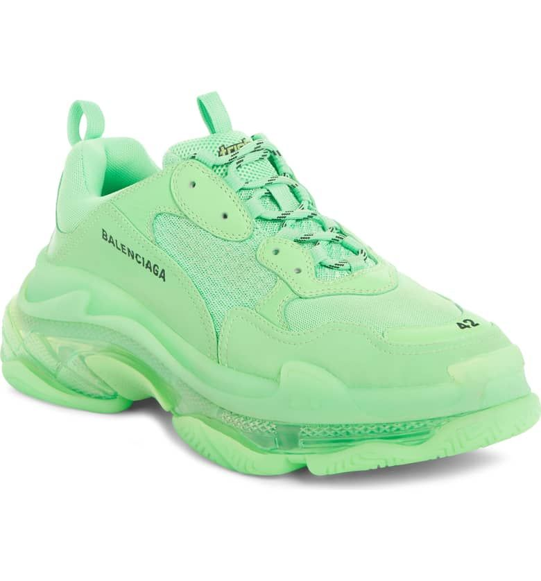 BALENCIAGA Triple S Clear Sole Trainer Sneaker, FLUO GREEN