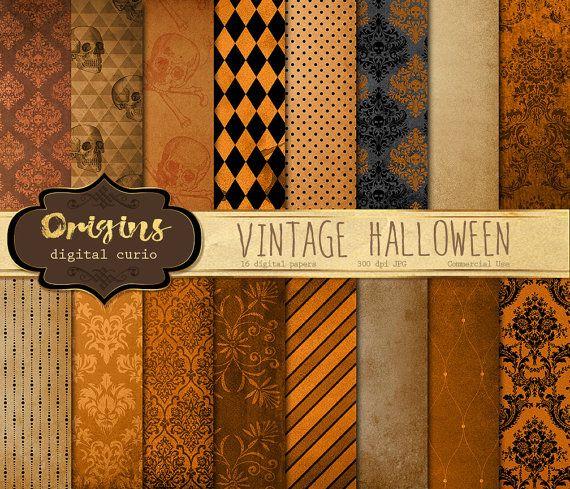 Vintage Halloween Digital Paper Textures Antique Skull Damask Etsy Old Paper Background Halloween Digital Digital Paper