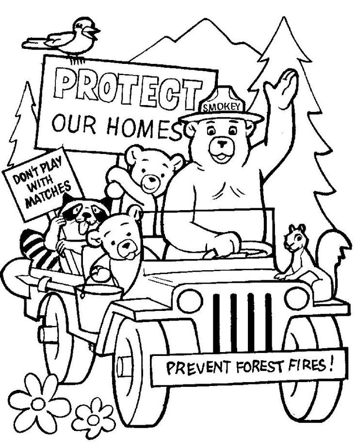 Smokey the bear and friends coloring page Smokey the