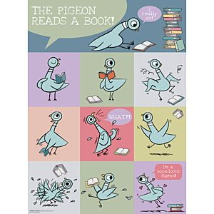 Mo Willems Pigeon Reads a Book Poster