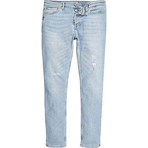 Light blue wash Sid skinny jeans - skinny jeans - jeans - men - Light Blue Wash Sid Skinny Jeans - Skinny Jeans - Jeans - Men