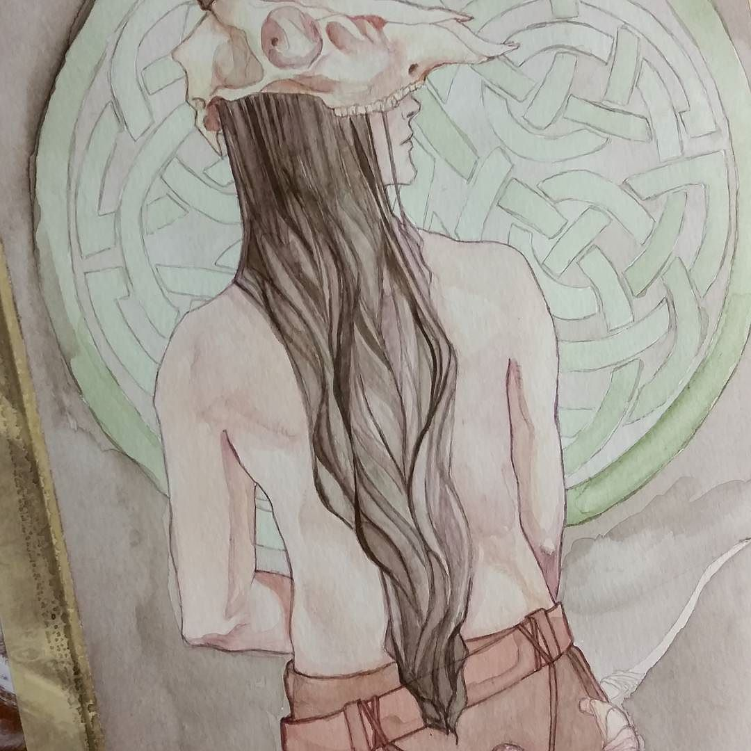 More progress on orome I hope to finish him up tomorrow the background needs to be alot darker too. #orome #tolkien #silmarillion #valar #hunt #celtic #celticknot #nofilter #nordic #longhair #talentedpeopleinc #deerskull #skull #artnerd #art #arte #guy #mildnudity #watercolorpainting #longhairedguy #folk  #archery #germanic #painting #watercolor #artistsoninstagram by janasophiaforster