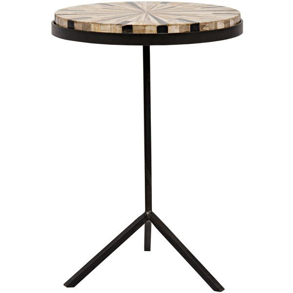 Noir Katana Petrified Wood Side Table ($624) ❤ Liked On Polyvore Featuring  Home,