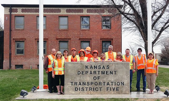 KDOT employees at the Hutchinson District Office. They are participating in National Work Zone Awareness Week, April 15-19, and wearing orange to show their support for highway workers across Kansas to raise awareness on the need for safety in work zones. Find out more about KDOT's work zone safety efforts at www.ksdot.org and click on the Go Orange logo.