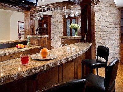 Santa Cecilia Classic Or Venetian Pearl Granite  Bar Top With Chiseled Edge,  Possibly A
