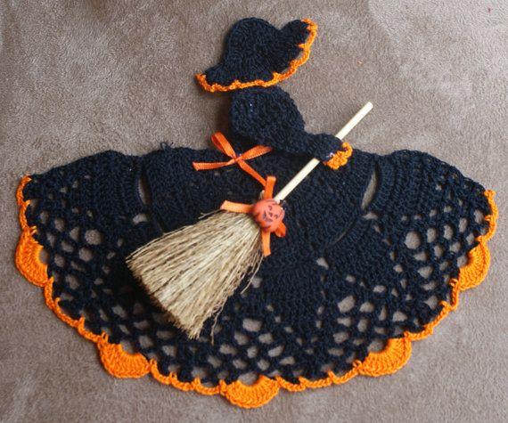 Crochet Halloween Witch Crinoline Doily | Crochet tapetes y cortinas ...