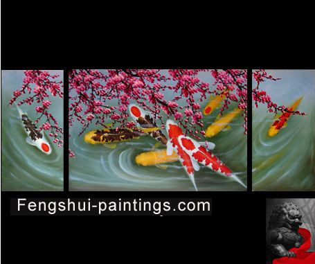 Feng shui painting abstract art paintings modern wall for Koi home decor