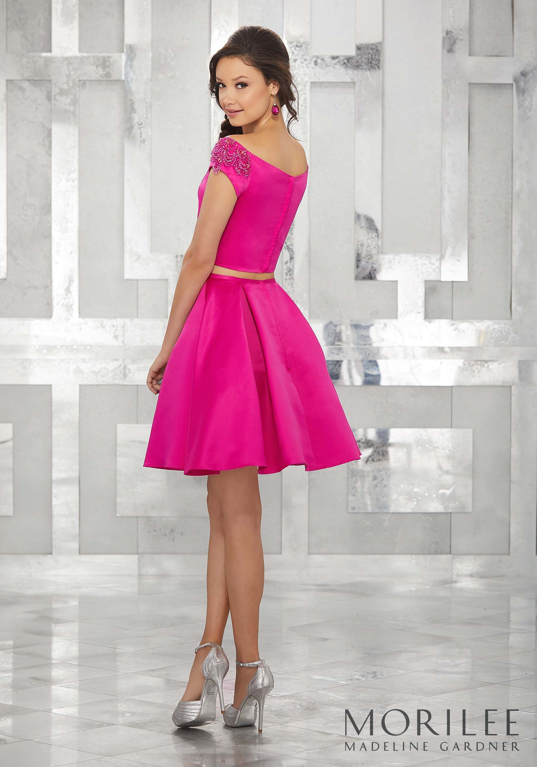 Pink Two Piece Satin Party Dress with Beaded Off-the-Shoulder Cap ...