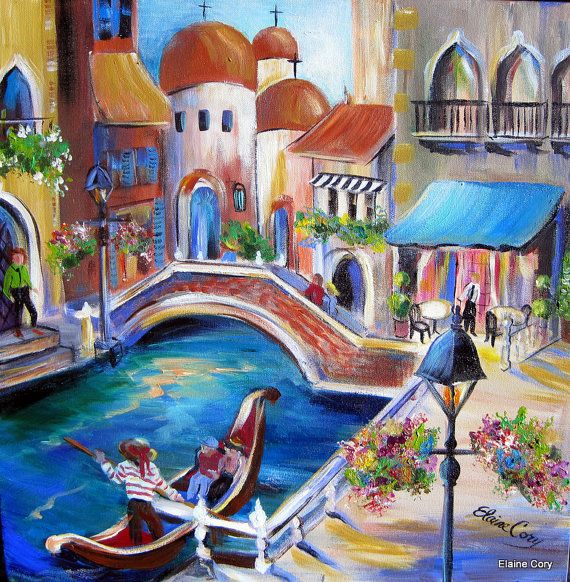 Venice Italy Landscape Gondolas By Elaine Cory Cuadro