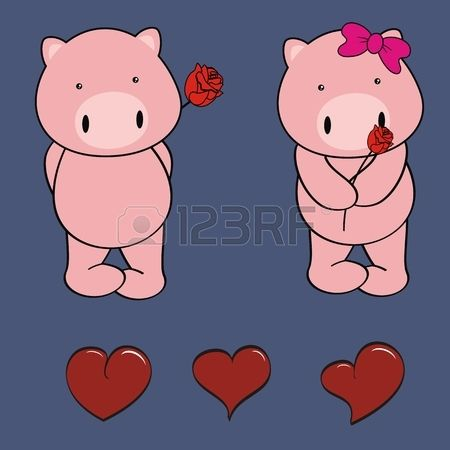 Pig Baby Cartoon Cute Rose Valentine In Vector Format Baby Cartoon Baby Pigs Cute Rose