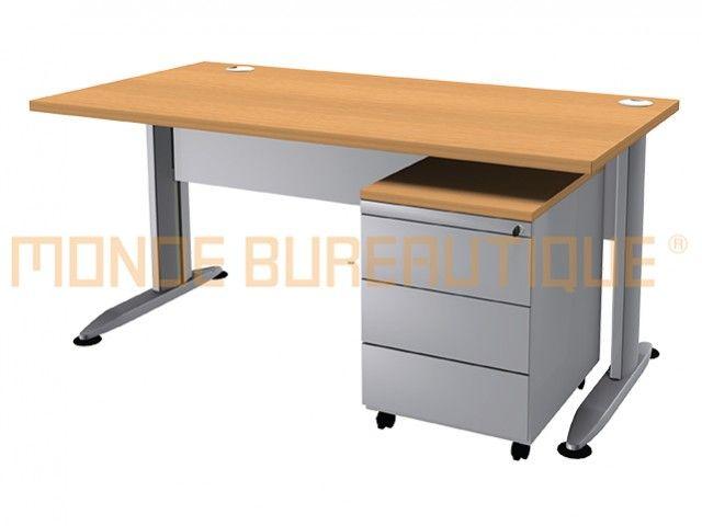 Bureau droit bureau droit t line l cm avec caisson tm table