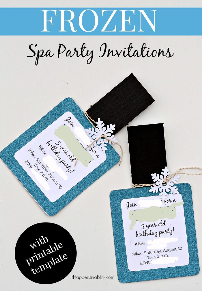 Frozen Spa Party Invitations with free printable | nail party ...