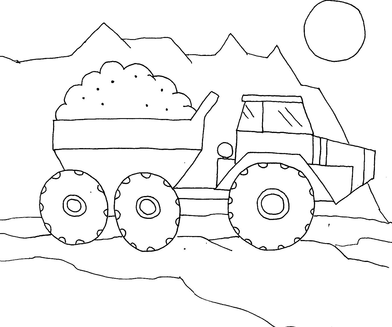 Dump Truck Strong Coloring For Kids