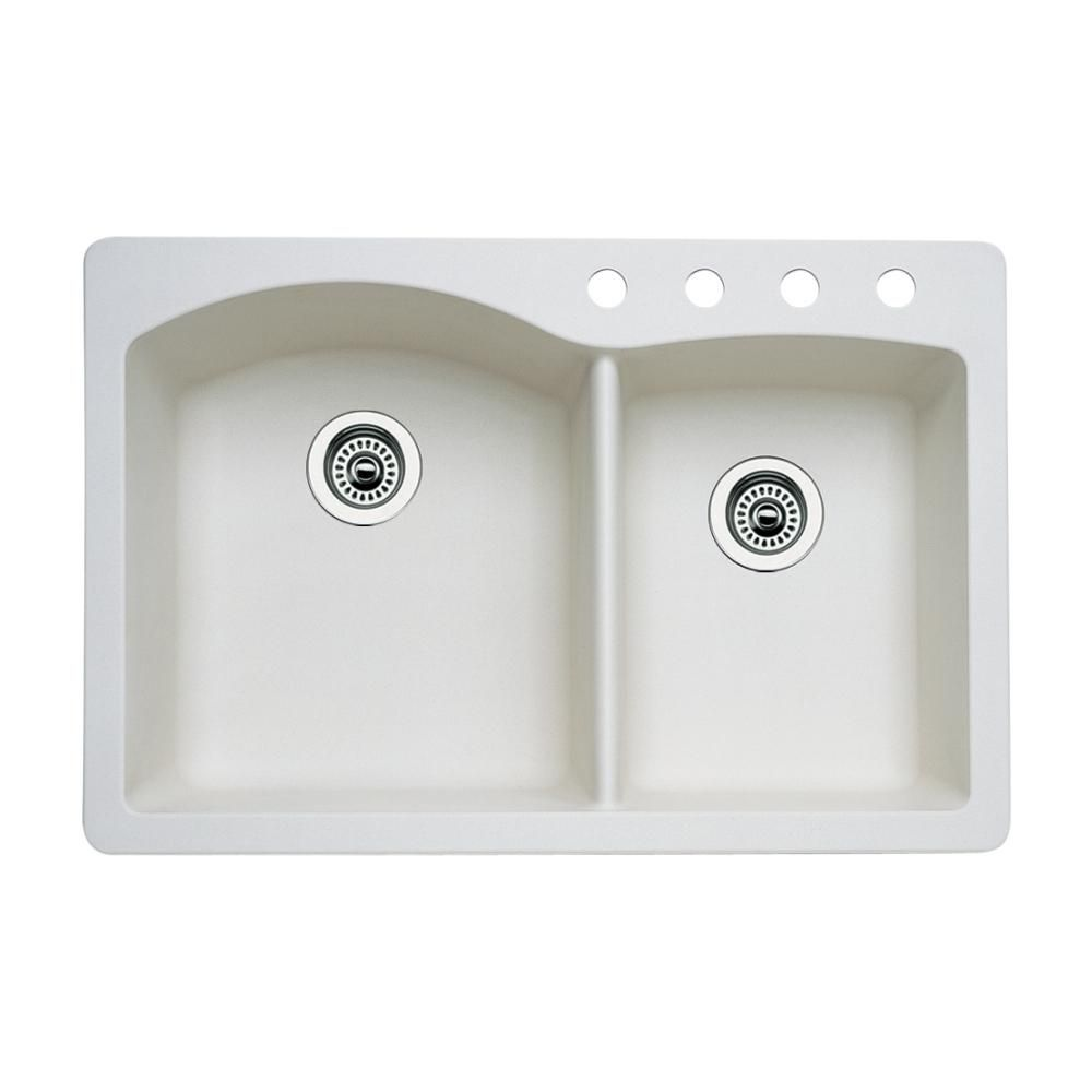 Blanco Diamond Dual Mount Granite 33 In 4 Hole 60 40 Double Bowl Kitchen Sink In Biscuit Products In 2019 Double Bowl Kitchen Sink Granite Kitchen Sinks