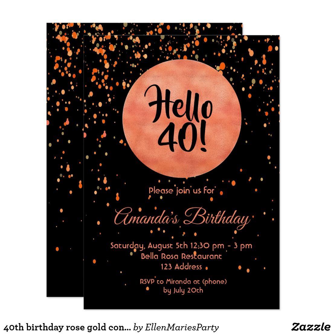 40th birthday rose gold confetti on black hello 40