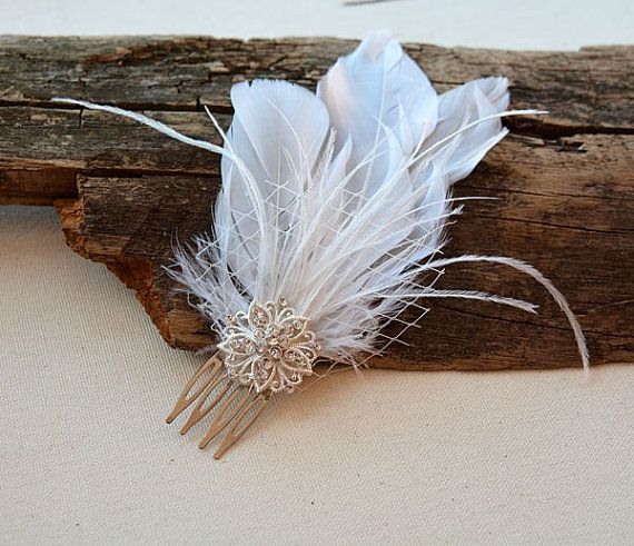 Wedding Hair Accessories Bridal Feather Fascinator by ADbrdal #babyhairaccessories