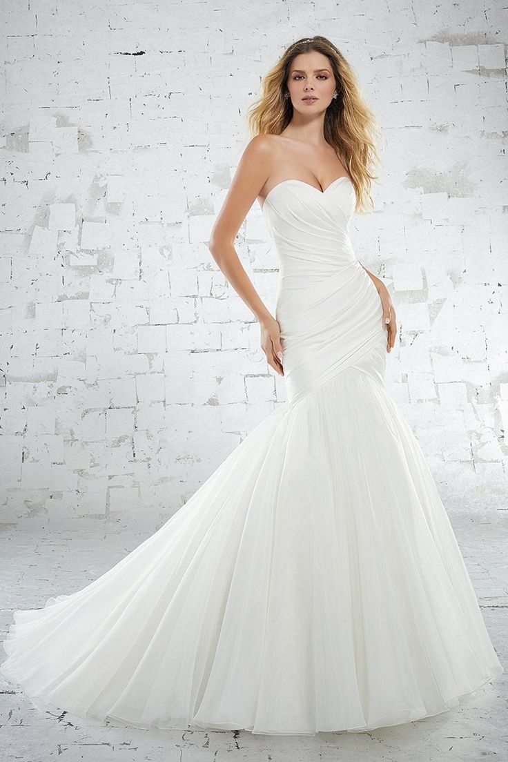 Mori lee madeline gardner wedding dress  Modern  simple wedding dress idea with strapless neckline and