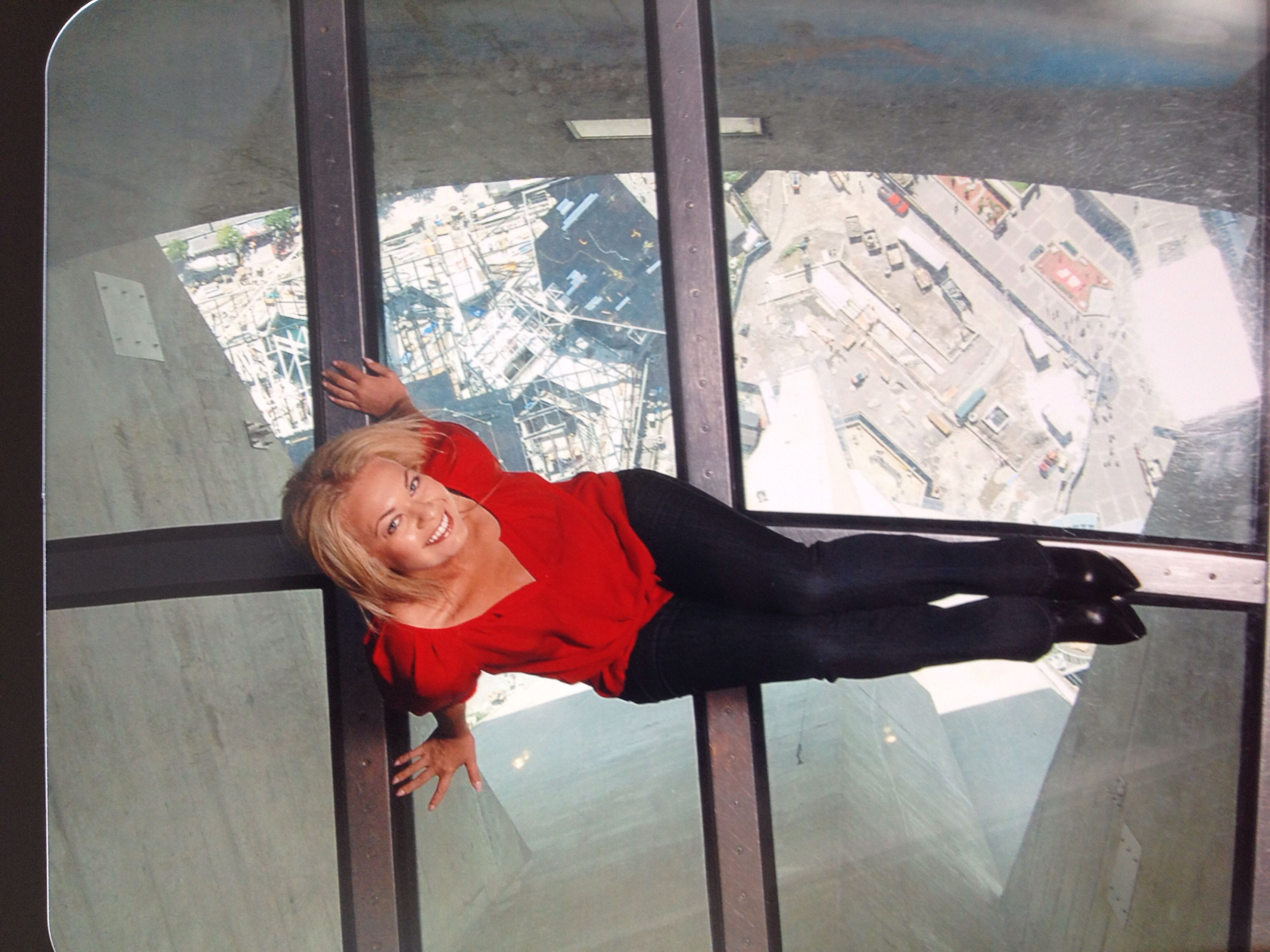 On the glass floor of the CN tower in Toronto - so scary!