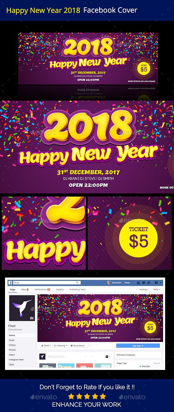 Happy New Year 2018 Facebook Timeline Cover Template PSD | Facebook ...