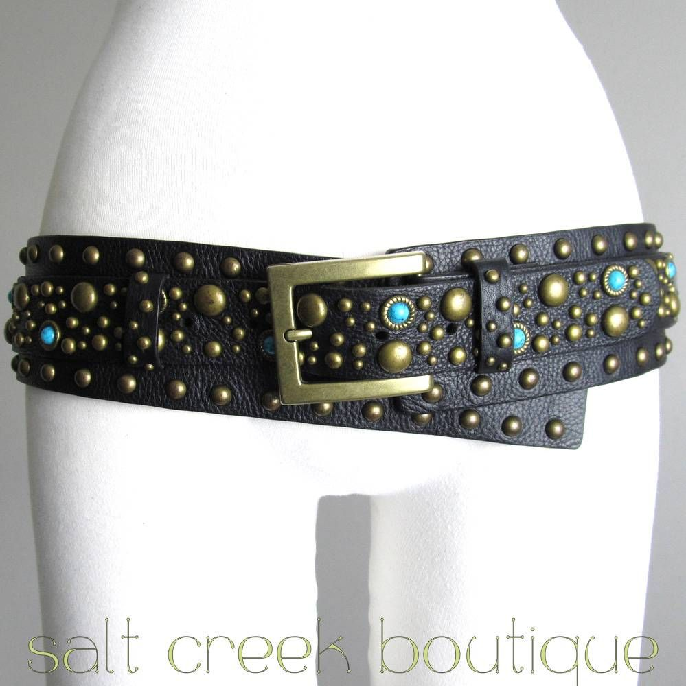 awesome genuine full grain black leather, covered in brass studs & turquoise jewel stones, extra wide, hip slung, brass buckle, southwestern, boho, hippie, gypsy, biker, rocker belt. available now at Salt Creek Boutique on eBay!
