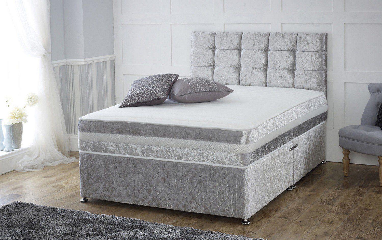 CRUSHED VELVET DIVAN BED + MEMORY MATTRESS + HEADBOARD 3FT 4FT 4FT6 Double 5FT | eBay