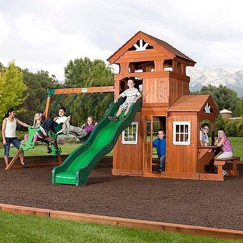 New Large Wood Swing Set Slide Ladder Fort Glider ...