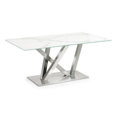 Tavolo di design in vetro, metallo e pietra ceramica moderno Neha ...