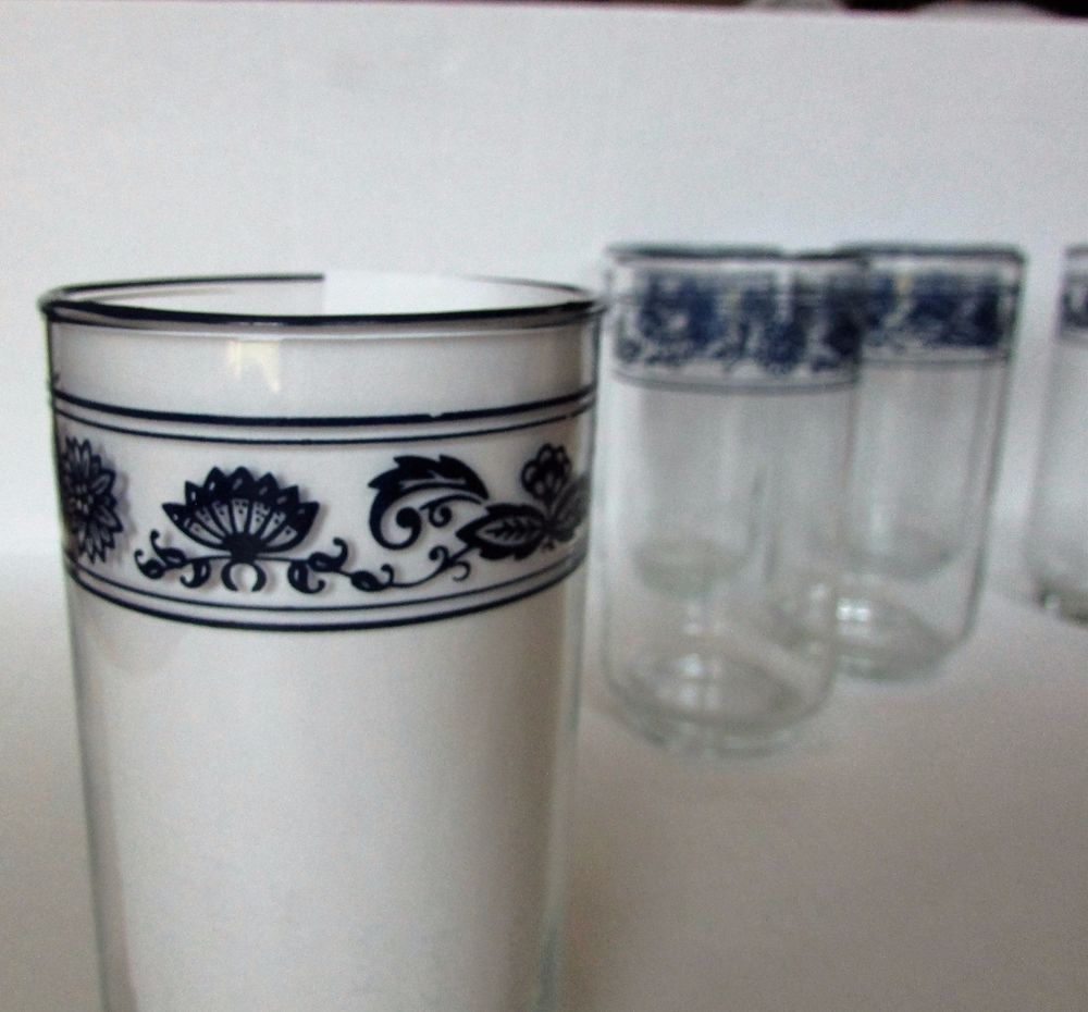 Old Towne Blue Libbey Corelle Compatible Drinking Glasses Tumblers