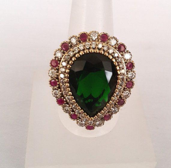 Sterling Silver Ring ,Rosesilver Ring ,Silver Ring ,Emerald Ring ,Zircon Ring ,Ruby Ring, Ottoman Ring