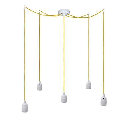 Sotto Luce Suspension 5 Lampes Blanc Jaune [Uno]