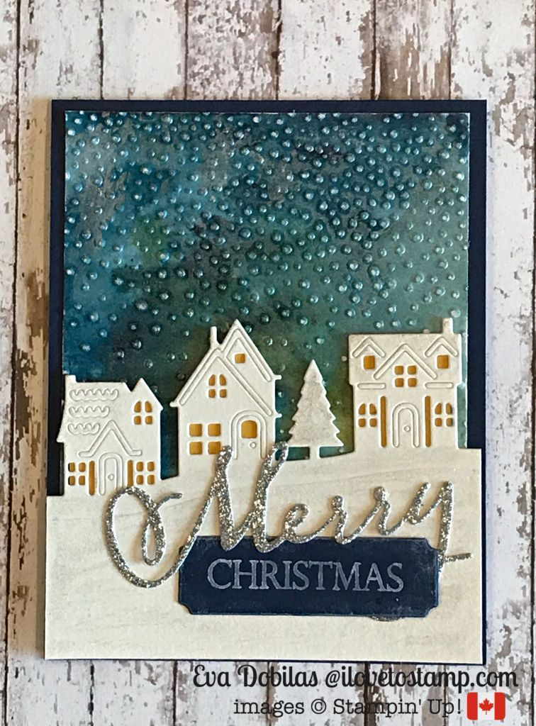 Hometown Greetings Christmas Card with Brusho | I Love to Stamp