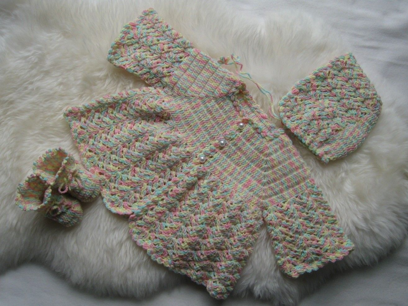 New crocheted baby set--sweater, bonnet, booties, 12M-18M | Free ...