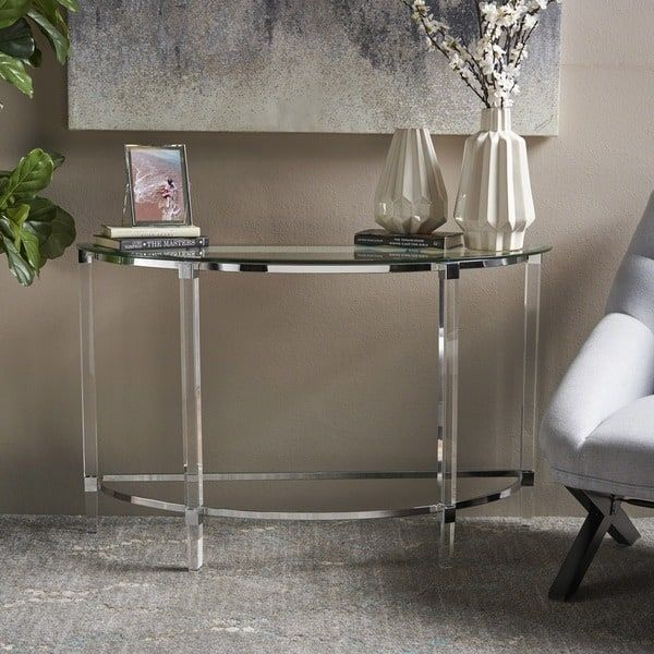 a2ac8e6031a Irma Modern Glass Console Table by Christopher Knight Home (Clear ...
