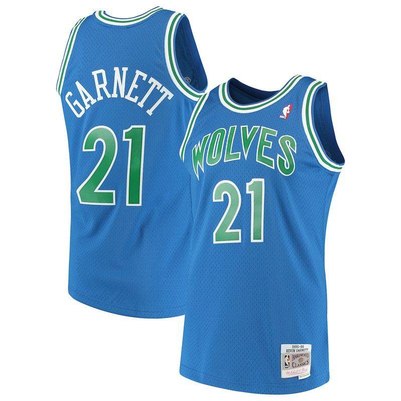 9bdb54f0f Kevin Garnett Minnesota Timberwolves Mitchell   Ness 1995-96 Hardwood  Classics Swingman Jersey – Blue