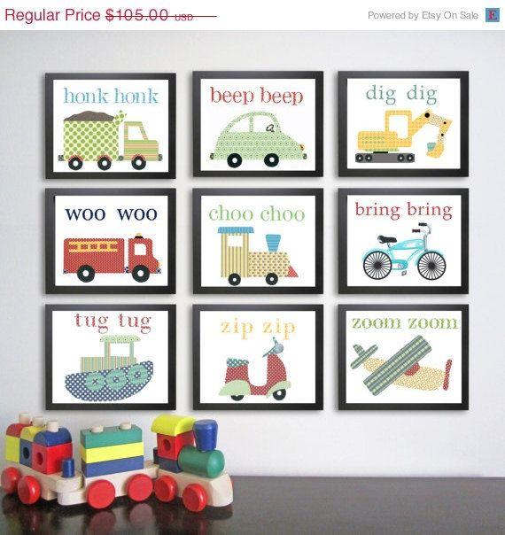 ON SALE Transportation Nursery Art Prints. Children decor. Children's Art.  Set of 9 8x10. Baby boy art. Kid wall art. Vehicle decor.