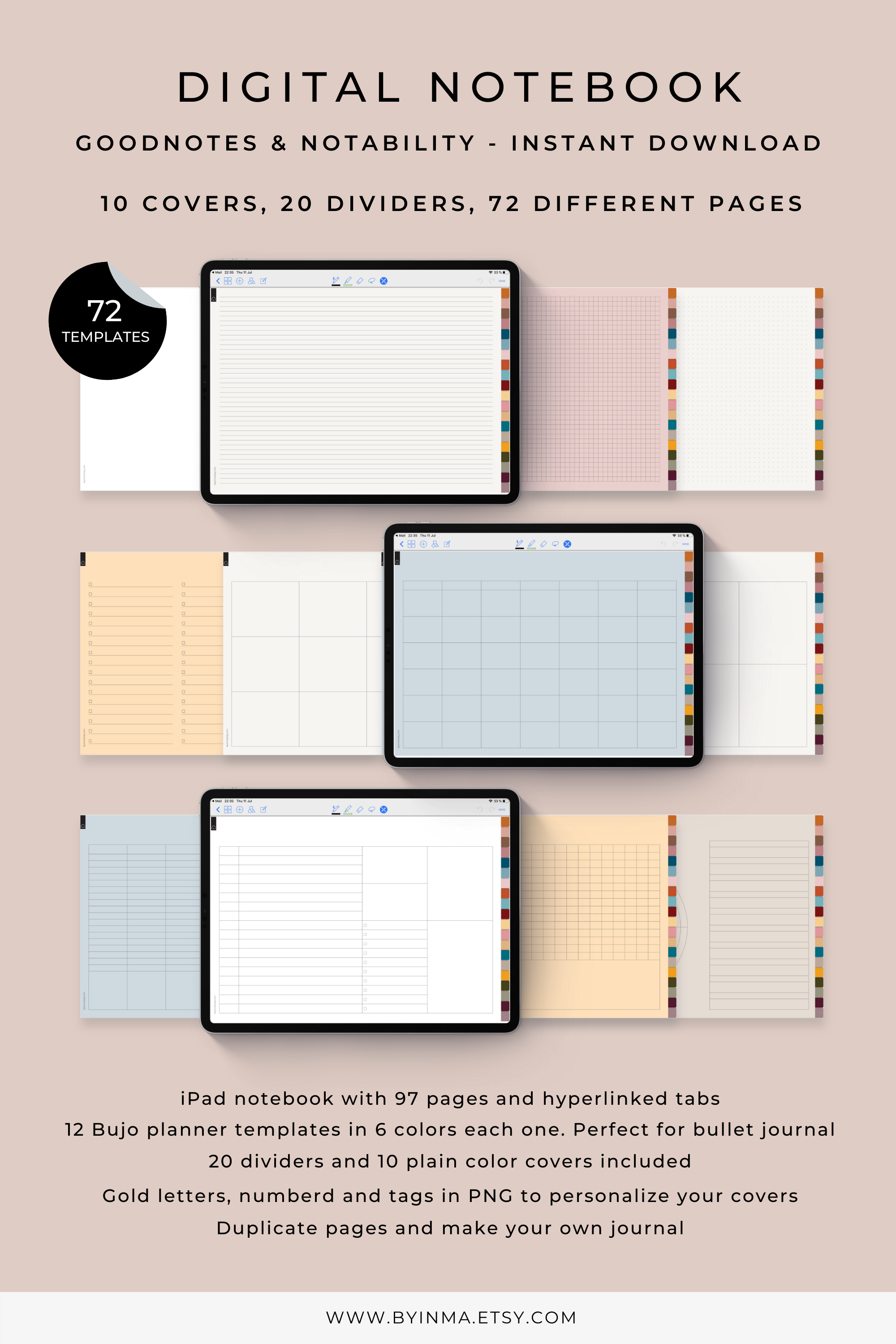 Digital Notebook With Tabs Goodnotes Notability And Noteshelf Journal For Ipad Digital Stickers To Customize Covers 20 Linked Sections Digital Notebooks Digital Digital Sticker