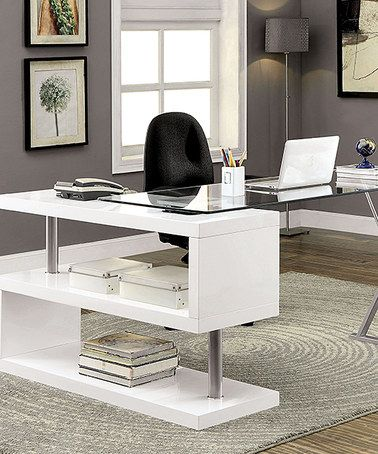 White Glass Top S Panel Desk Home Office Furniture Home Office Design Modern Glass Top Desk