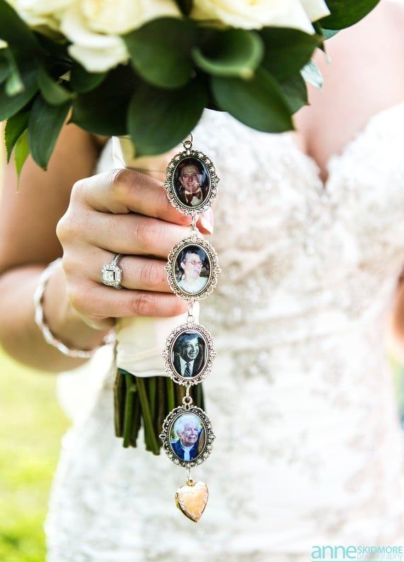 Something Blue Wedding Photo charms Custom Made or DIY Bouquet memory Charms for Family photos and I