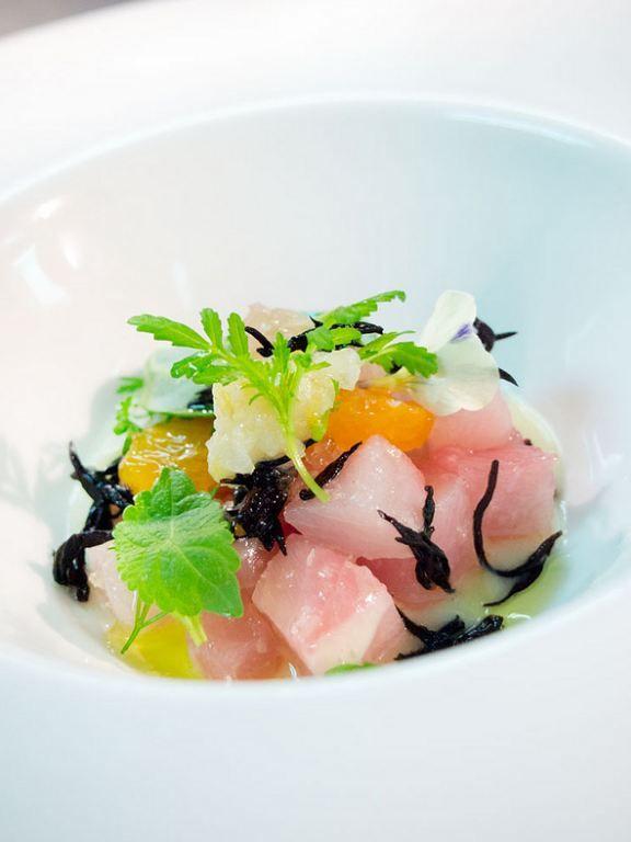 raw citrus marinated hamachi fish