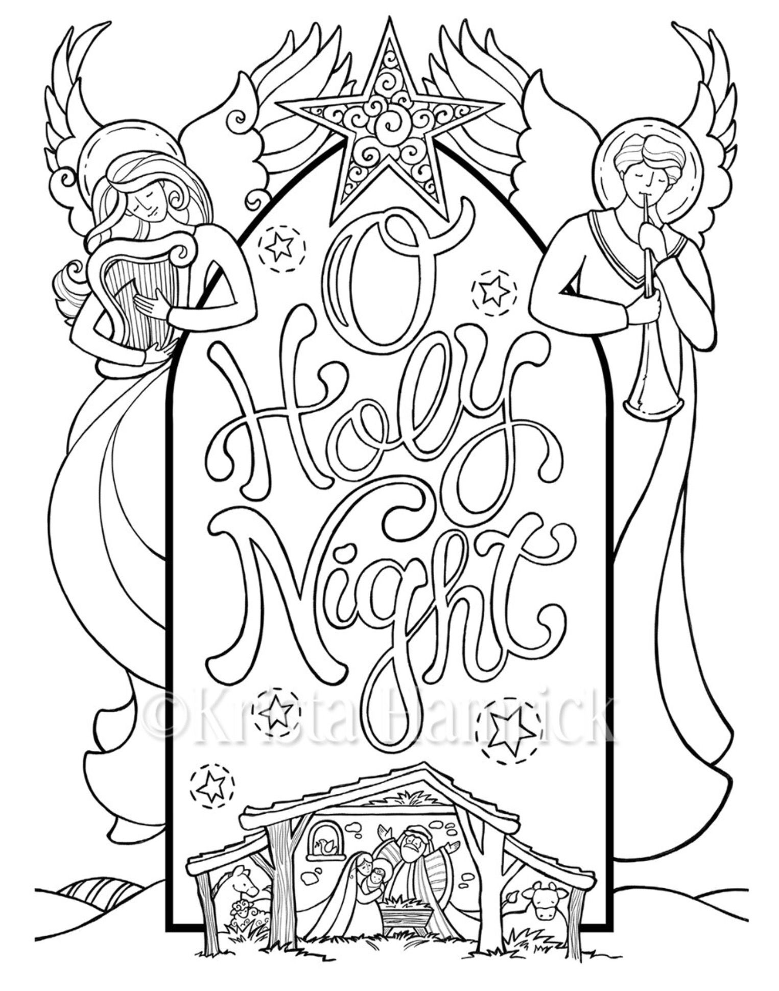 Discover Ideas About Sunday School Activities O Holy Night Nativity Scene Coloring Page In Two By KristaHamrick
