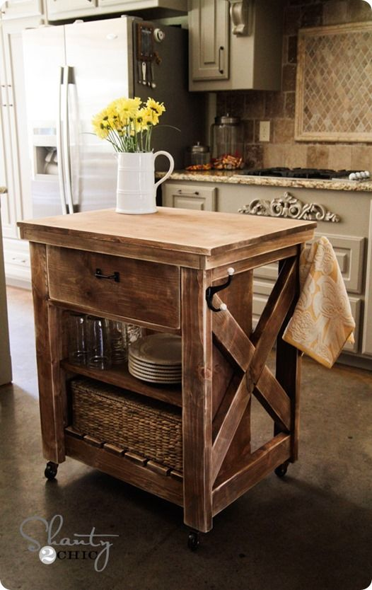 Rustic Wood Kitchen Island With Casters Diy