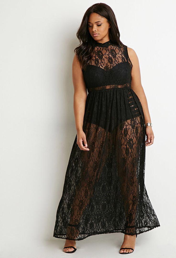Plus size see through maxi dress