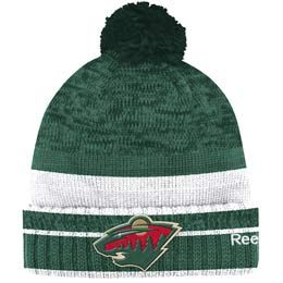 eacf35ad15c Official Minnesota Wild cuffed pom knit toque from Reebok. Made of 100%  Acrylic material knit in team colors featuring a raised embroidered team  crest logo ...